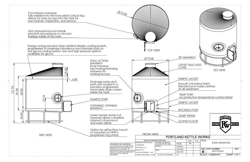 PKW Wine Fermenter Closed-Top Spec Sheet