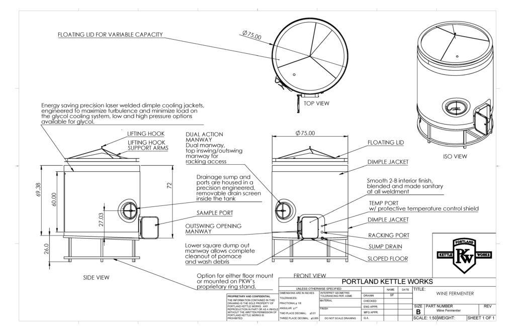 PKW Wine Fermenter Open-Top Spec Sheet