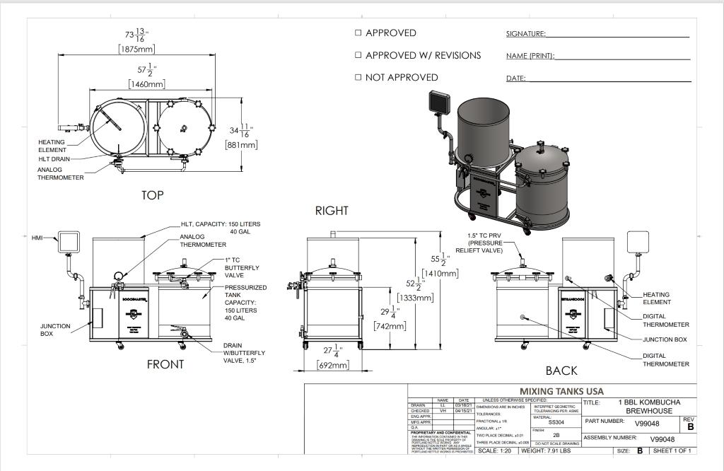 KB-135 Kombucha Brewery Spec Sheet